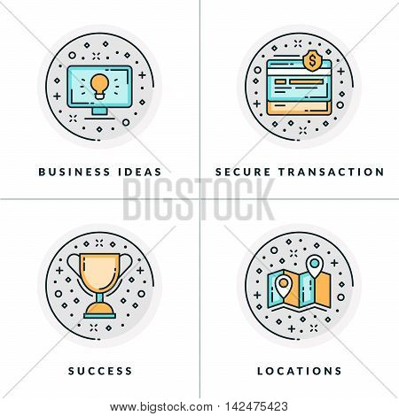 Business And Working. Set Of Four Icons On Business Ideas, Secure Transactions, Success, Locations.