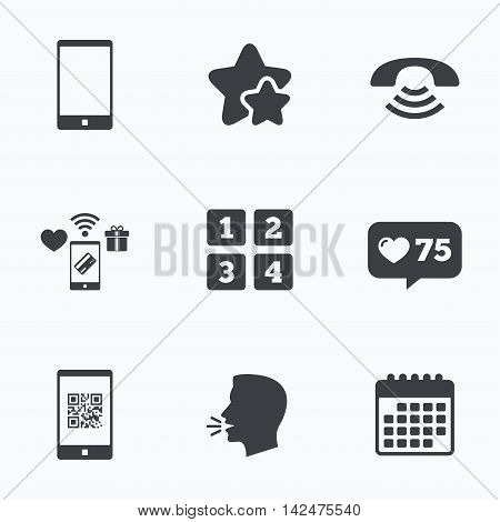 Phone icons. Smartphone with Qr code sign. Call center support symbol. Cellphone keyboard symbol. Flat talking head, calendar icons. Stars, like counter icons. Vector