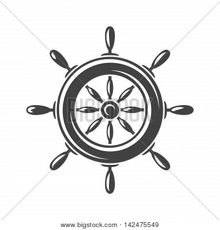 Nautical collection. Ship steering wheel. Black icon logo element flat vector illustration isolated on white background.