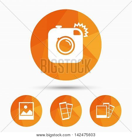 Hipster photo camera icon. Flash light symbol. Photo booth strips sign. Landscape photo frame. Triangular low poly buttons with shadow. Vector