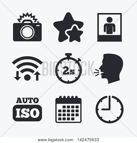 Photo camera icon. Flash light and Auto ISO symbols. Stopwatch timer 2 seconds sign. Human portrait photo frame. Wifi internet, favorite stars, calendar and clock. Talking head. Vector