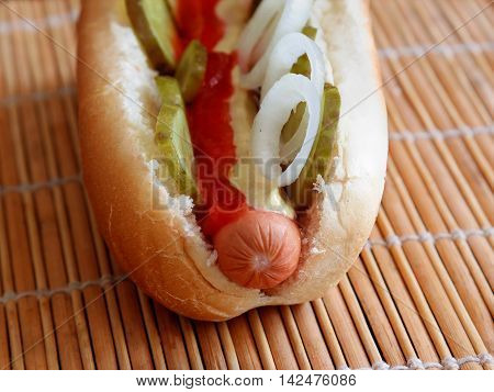 Hot dog with onions pickles mayo and ketchup