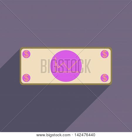 Flat web icon with long  shadow financial graph