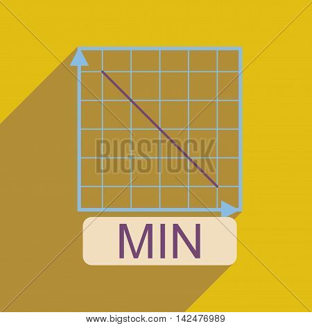 Flat web icon with long  shadow falling graph