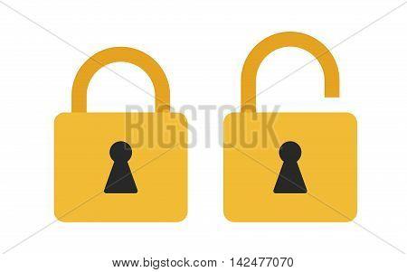 Flat icon locked and unlocked padlock. Lock icon. Vector illustration.