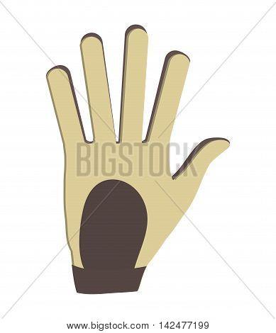 flat design golf glove icon vector illustration