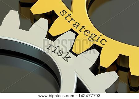 Strategic Risk concept on the gearwheels 3D rendering
