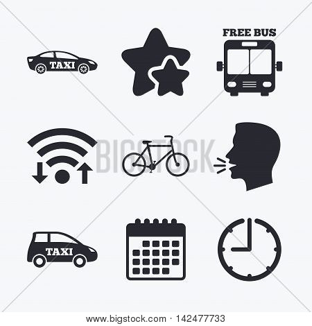 Public transport icons. Free bus, bicycle and taxi signs. Car transport symbol. Wifi internet, favorite stars, calendar and clock. Talking head. Vector
