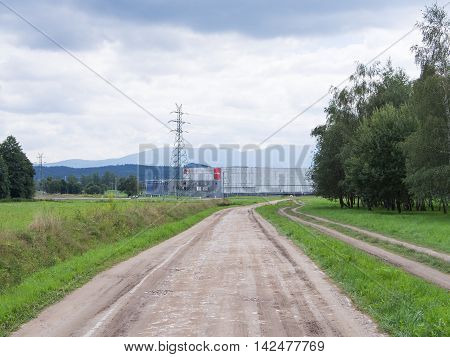 JELENIA GORA POLAND - AUGUST 13 2016: Path To A Shopping Center in Jelenia Gora Poland