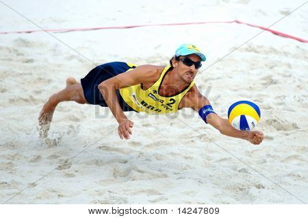 PRAGUE - JUNE 18: Emanuel Rego (BRA) competes at SWATCH FIVB World Tour 2010 on June 18, 2010 in Prague