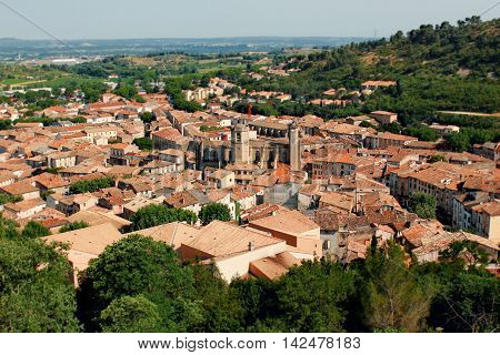 View on provencal village landscape Provence France. On sunny summer day.