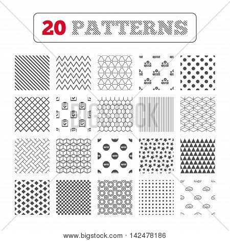 Ornament patterns, diagonal stripes and stars. Quiz icons. Human brain think. Checklist symbol. Survey poll or questionnaire feedback form. Questions and answers game sign. Geometric textures. Vector