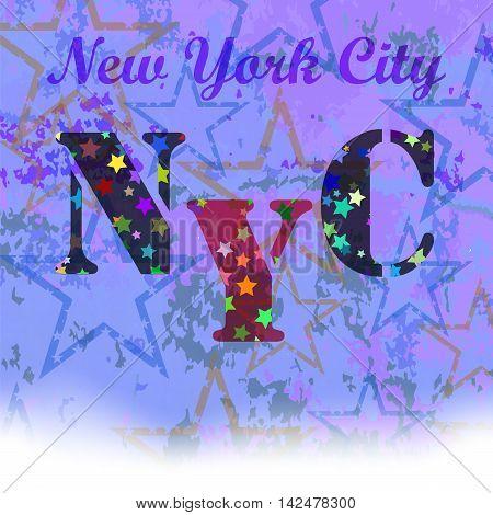 New York T-shirt Emblem.Print Typography. Retro Label. Vintage Sport Pattern. Starry Basketball Logo on Grunge Background