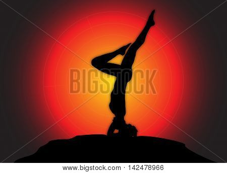 Yoga Headstand Variation Sun Background