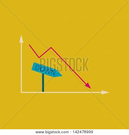 Flat web icon on stylish  background falling graph, vector