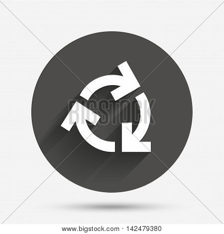 Recycling sign icon. Reuse or reduce symbol.. Circle flat button with shadow. Vector