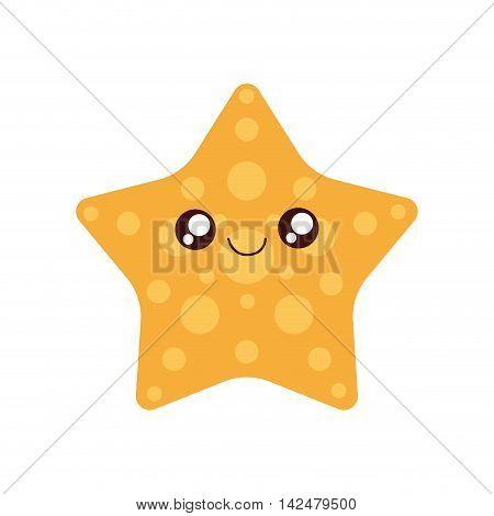 sea star kawaii cute little icon. Isolated and flat illustration