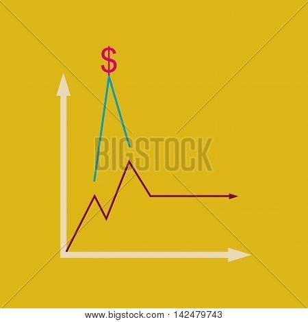 Flat web icon on  stylish background monetary infographics, vector