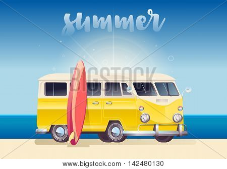 Summer colorful illustration. Camper van wagon truck. Summer vacation. Travel van and surf board on ocean landscape background.