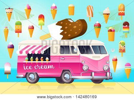 Ice cream wagon full of tasty summer food. Ice cream van truck. Vector flat design illustration