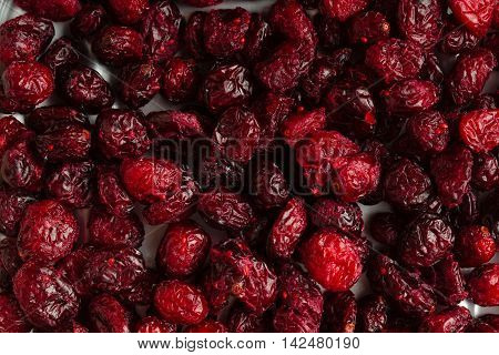 Healthy food organic nutrition. Dried cranberries cranberry fruit as background
