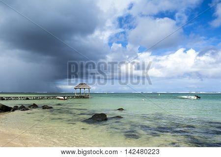 BEL OMBRE, MAURITIUS ISLAND - JUNE 16, 2016: Beautiful rocky beach in Bel Ombre, Mauritius island, June 16, 2016