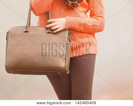 Woman With Handbag Outdoor In Autumn Park