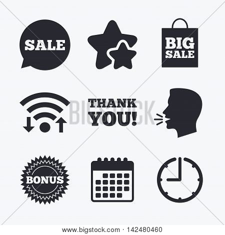 Sale speech bubble icon. Thank you symbol. Bonus star circle sign. Big sale shopping bag. Wifi internet, favorite stars, calendar and clock. Talking head. Vector