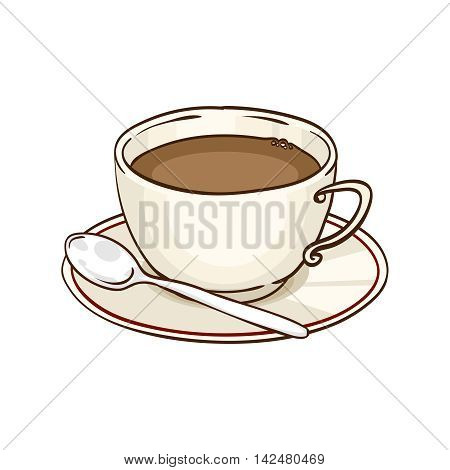 Cup of coffee or black tea with saucer and teaspoon. Vector hand drawn illustration, isolated on white