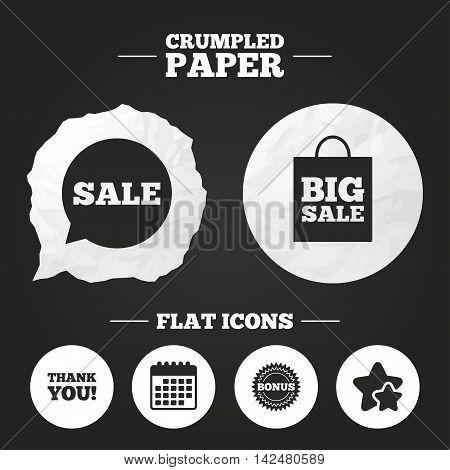 Crumpled paper speech bubble. Sale speech bubble icon. Thank you symbol. Bonus star circle sign. Big sale shopping bag. Paper button. Vector