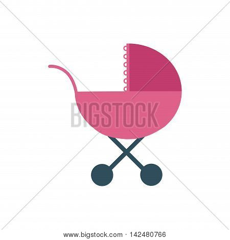 baby stroller pink childhood icon. Isolated and flat illustration