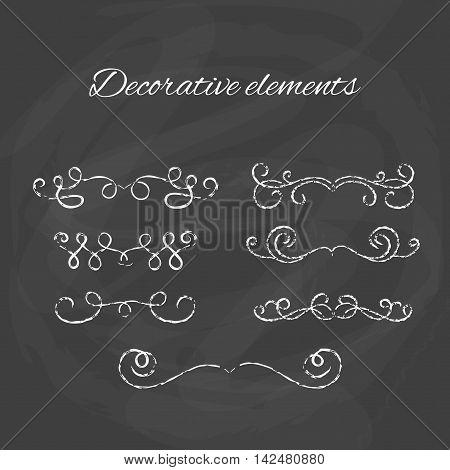 Dividers set. Chalk divider on blackboard. Hand drawn illustration. Ornamental decorative elements. Vector ornate elements design.