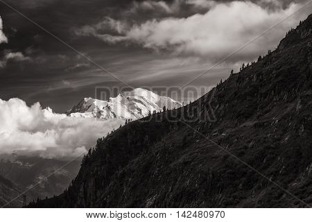 View Of The Mont-blanc Peak From Lac D'emosson Near Swiss City Of Finhaut And French City Of Chamini