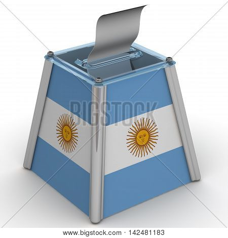 Ballot box to vote with the flag of Argentina and ballot sheet is on the white surface. Isolated. 3D Illustration