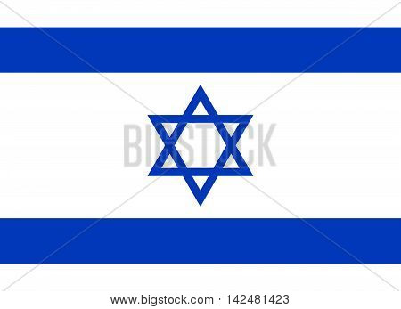 Flag of Israel in correct size proportions and colors. Accurate dimensions. Star of David. Israeli national flag.