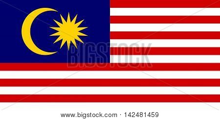 Flag of Malaysia in correct size proportions and colors. Accurate dimensions. Malaysian national flag.
