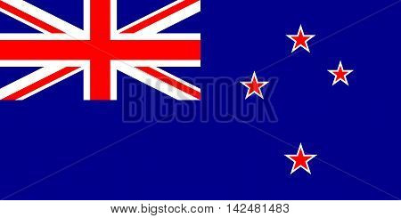Flag of New Zealand in correct size proportions and colors. Accurate dimensions. New Zealand national flag.