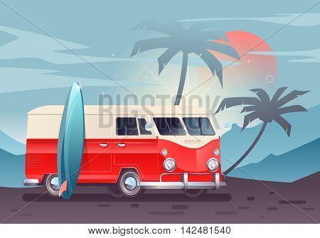 Summer colorful illustration. Camper van wagon truck. Summer vacation. Travel van on beautiful landscape background with sunset.