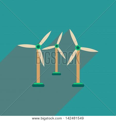 Flat web icon with long  shadow wind turbines