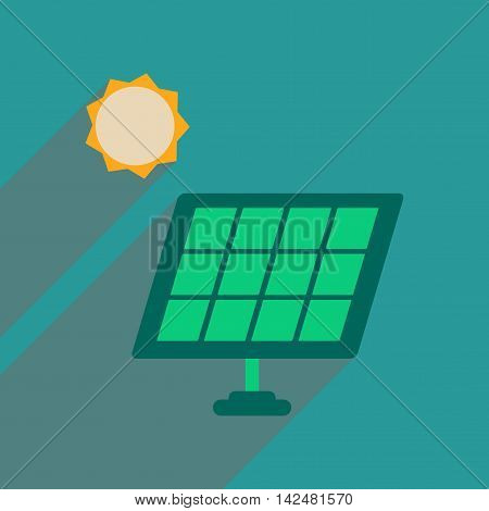 Flat web icon with long  shadow solar battery