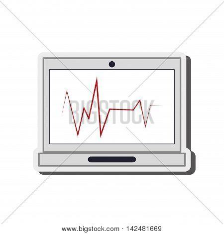 flat design cardiogram on laptop screen icon vector illustration
