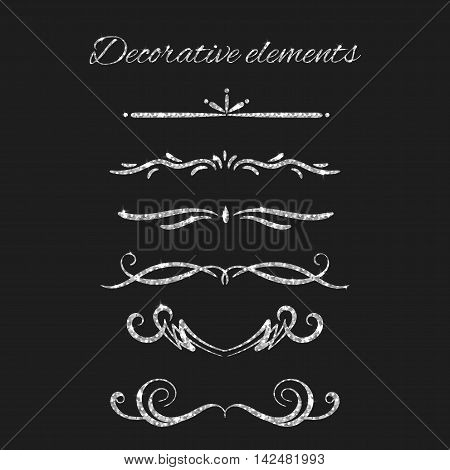 Silver text dividers set. Ornamental decorative elements. Vector ornate design. Silvery flourishes. Shiny decorative hand drawn borders with glitter effect. Calligraphic decorations with sparkles.