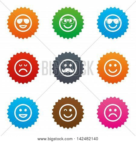 Smile icons. Happy, sad and wink faces signs. Sunglasses, mustache and laughing lol smiley symbols. Stars label button with flat icons. Vector