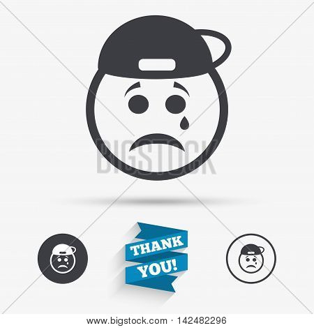 Sad rapper face with tear sign icon. Crying chat symbol. Flat icons. Buttons with icons. Thank you ribbon. Vector