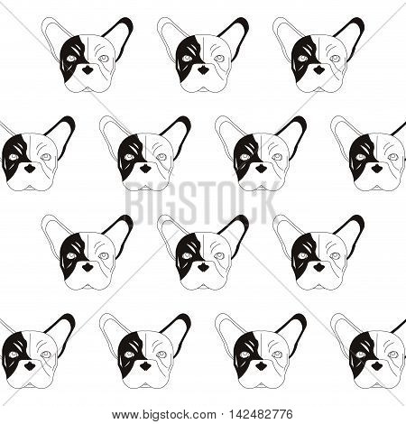 flat design french bulldog pattern icon vector illustration