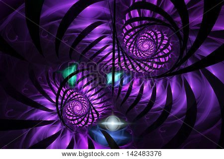 Abstract purple thorns fractal on dark background