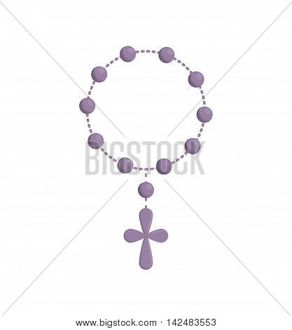cross rosary religion christianity icon. Isolated and flat illustration