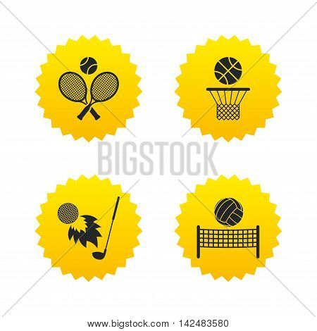 Tennis rackets with ball. Basketball basket. Volleyball net with ball. Golf fireball sign. Sport icons. Yellow stars labels with flat icons. Vector