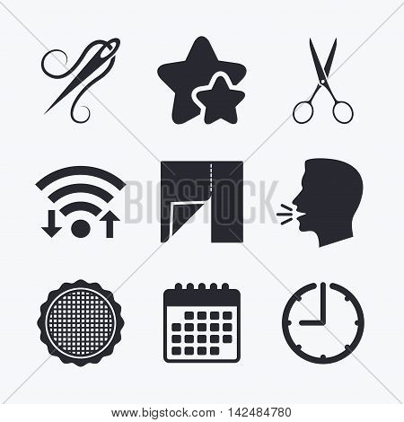 Textile cloth piece icon. Scissors hairdresser symbol. Needle with thread. Tailor symbol. Canvas for embroidery. Wifi internet, favorite stars, calendar and clock. Talking head. Vector
