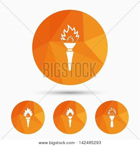 Torch flame icons. Fire flaming symbols. Hand tool which provides light or heat. Triangular low poly buttons with shadow. Vector